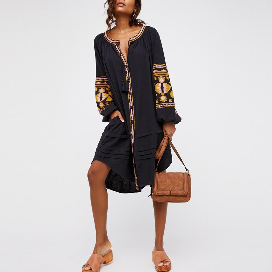 boho dress 2017 autumn cotton floral embroidery large lantern long sleeve o-neck loose style long Hippie brand women dresses