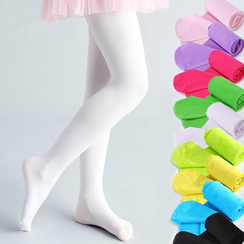 Meninas de alta elastic bebê meia-calça criança branco ballet collants doces cor meninas meias crianças dança veludo meia-calça