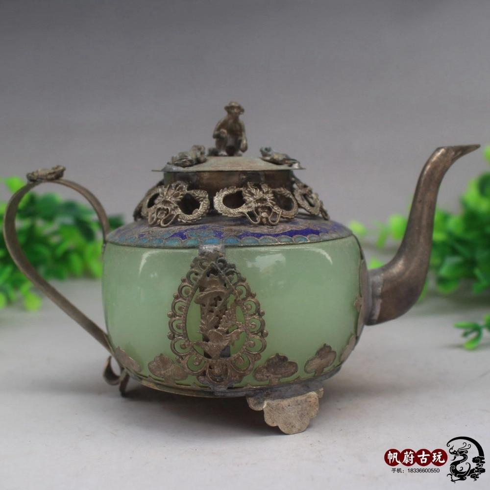Bolsa de cobre antigua, tarro de té de boca larga de jade natural, artesanías de cobre, adornos decorativos