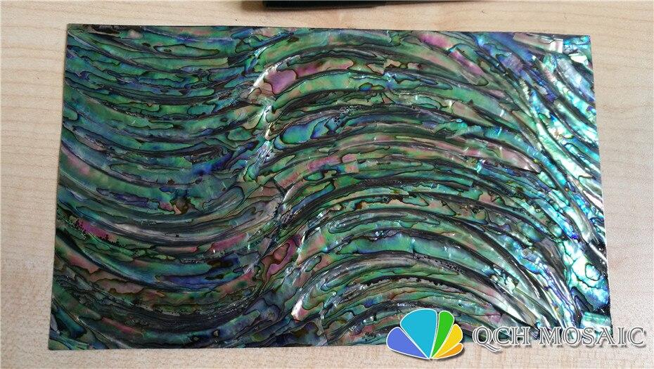 Abulón verde paua shell hoja laminada de la madre de la perla para el instrumento musical y la parte posterior negra de la incrustación de madera qch121 10 unids/lote