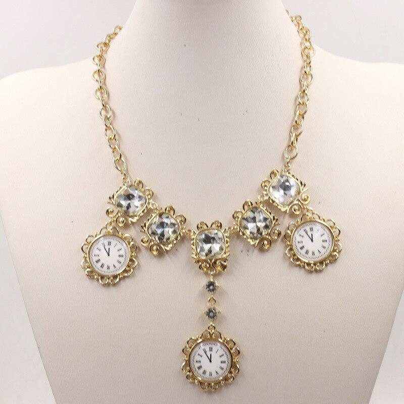 Барокко Мода Кристалл преувеличенное большое ожерелье Время часы ювелирные изделия ожерелье женское ожерелье 1197