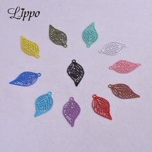 100 pièces AC3935 Colorfull laiton feuilles breloque filigrane feuille pendentifs embellissement bricolage bijoux matériaux
