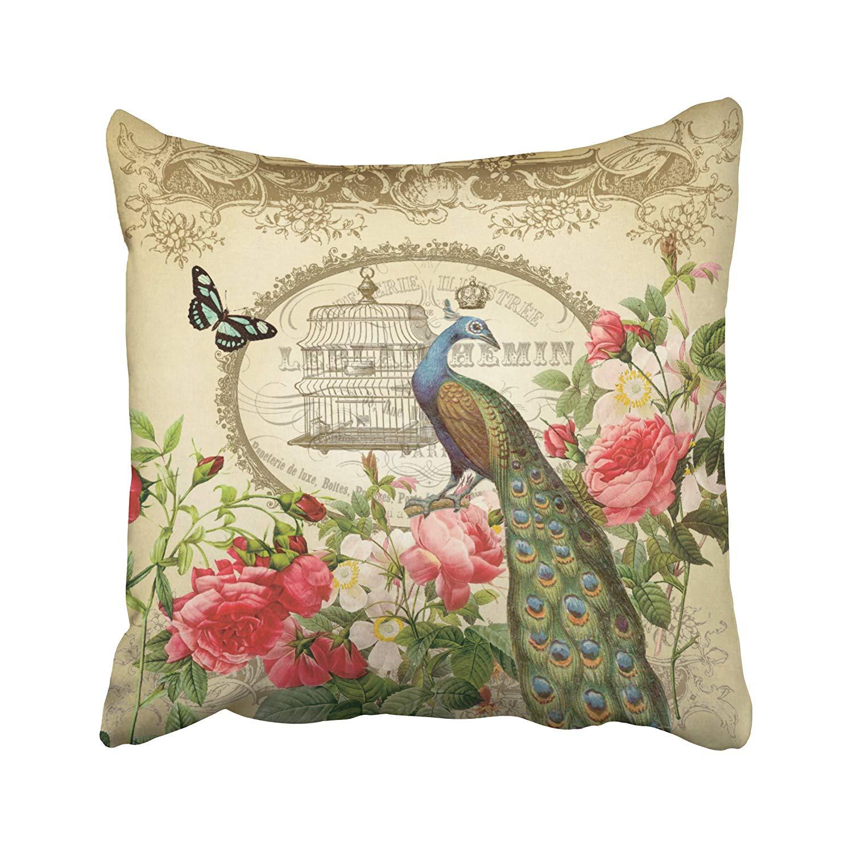 Funda de almohada de forma cuadrada tamaño francés Vintage Shabby Chic Pavo Real Lumbar almohada oculta cojín para regalo hogar dormitorio sofá
