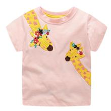 Summer Baby Girl Short Sleeve T-Shirts For Kids Cartoon Giraffe Printed Tops Tees Shirts Casual Blouse 2-7T