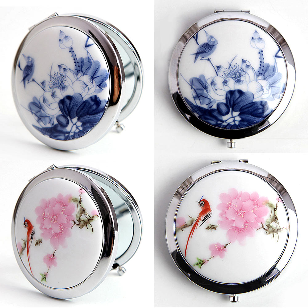 1 * Espejos de maquillaje estilo de pintura de China espejo MakeupTool de Cerámica y Vidrio Mini maquillaje compacto de bolsillo espejo espejos cosméticos