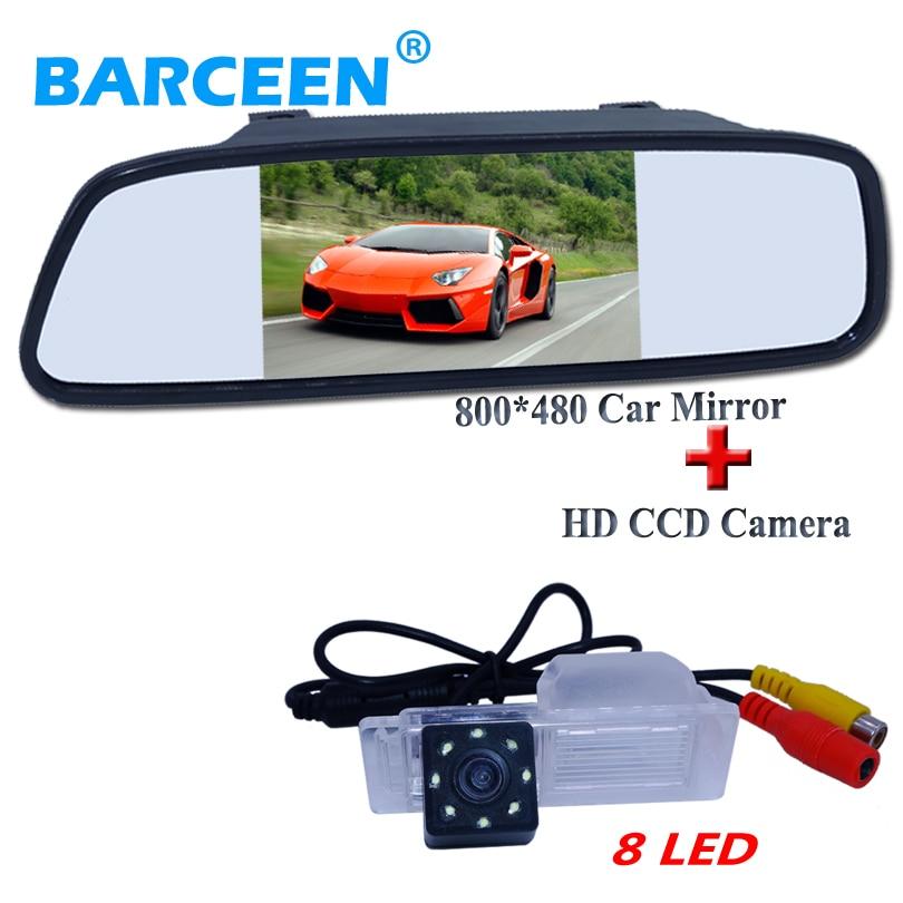 "Material de la cáscara 5 ""Monitor de espejo retrovisor de coche de pantalla ancha + 8 LED de visión nocturna cámara de aparcamiento para coche para Chevrolet Cruze hatchback"