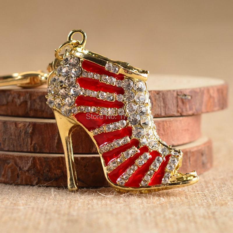 Nuevo llavero con colgante de cristal en 3D, 3 uds., diseño de zapato de tacón alto con diamantes de imitación, llavero colgante para Navidad