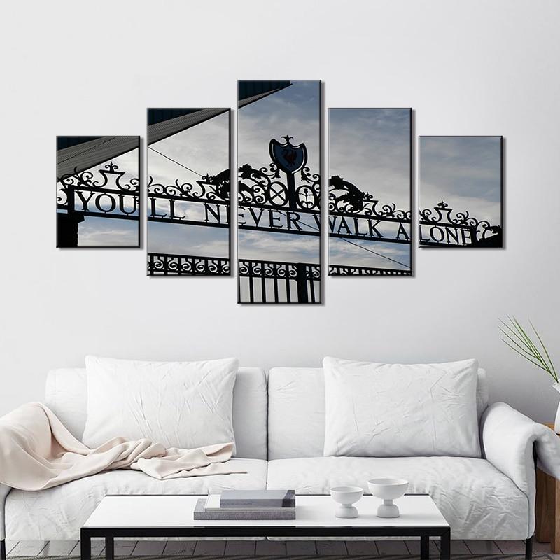 Arte de pared de 5 piezas de lona nunca caminar solo pinturas Liverpool FC Club tienda de fotos en blanco y negro de vida casa habitación Decoración