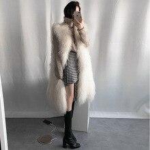 Femmes épais sans manches fausse fourrure gilet manteau longueur genou solide gilet noir blanc rose gris A15