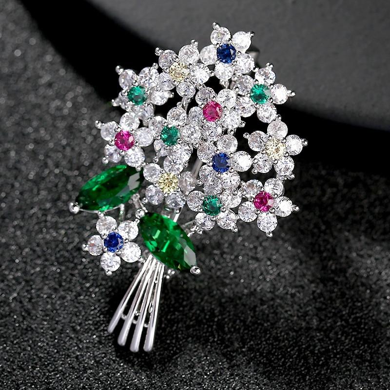 Luxury Beautiful Colored Austria Crystal Brooches Pins Women Costume Jewelry Broach Wedding Bouquet Pin Brosche femme bijoux