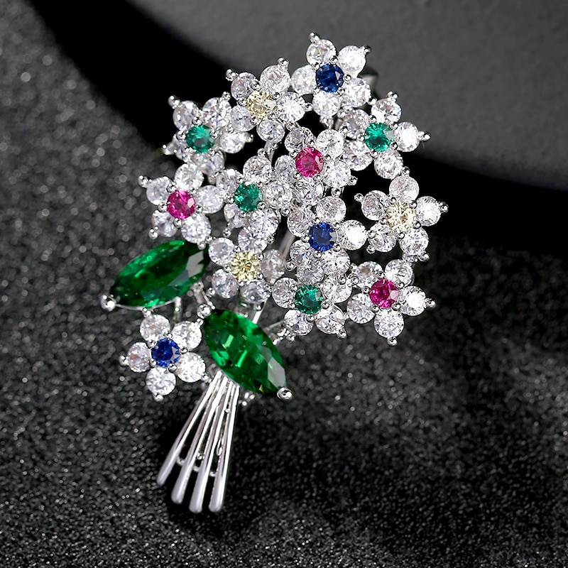 Luxo bonito colorido áustria broches de cristal pinos feminino traje jóias broach casamento buquê pino broche femme bijoux