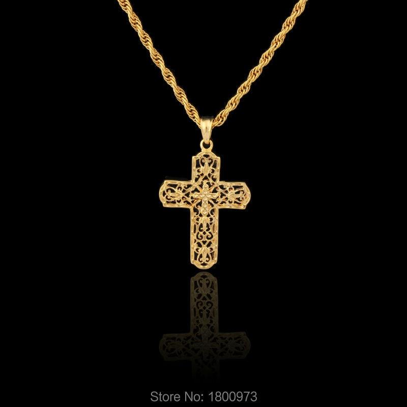 Recién llegado Jesús Cruz colgante hombres mujeres Unisex collar relleno de oro INRI cristiano crucifijo colgante joyería envío gratis