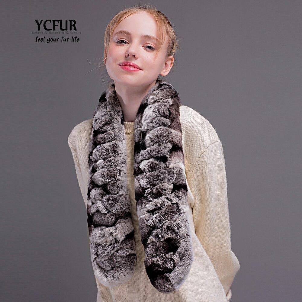 YCFUR Fashion Women Scarves Wraps Winter Handmade Real Rex Rabbit Fur Scarf For Lady Winter Warm Fur