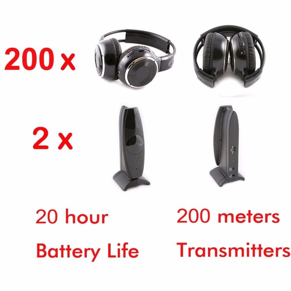 Auriculares plegables silenciosos de disco inalámbricos de 200 Uds con 2 transmisores, auriculares de Disco silenciosos de RF para CLUB DE DJ conferencias de fiestas