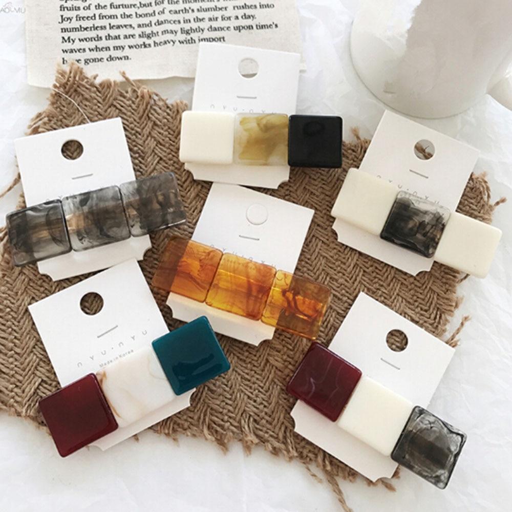 New Fashion Korea Fashion Hit Color Resin Hairpins Geometric Square Hair Clips for Women Girls Hair Accessories Hairgrip