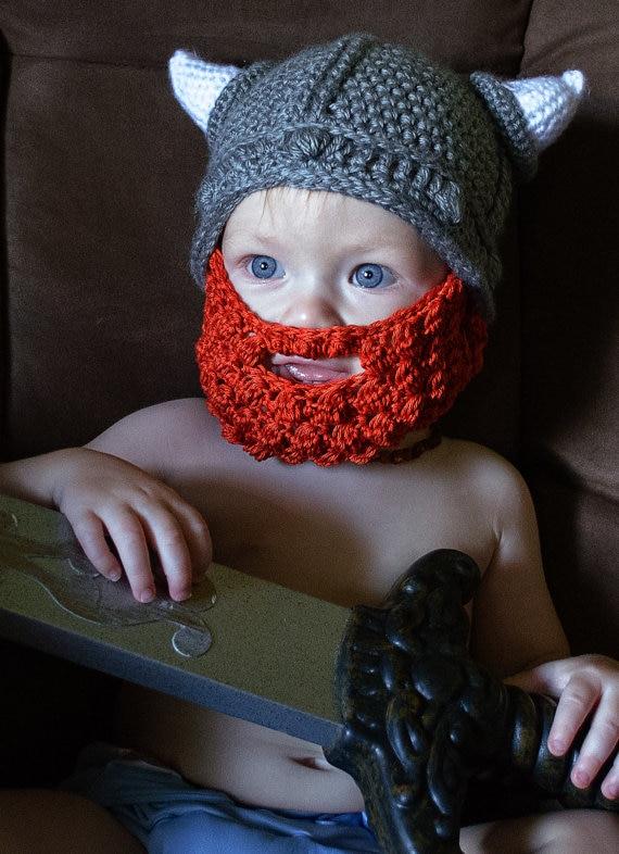 Вязаная крючком шапка викинга для детей ясельного возраста с бородой, детский шлем для Викинга, вязаная крючком Детская шапка викинга