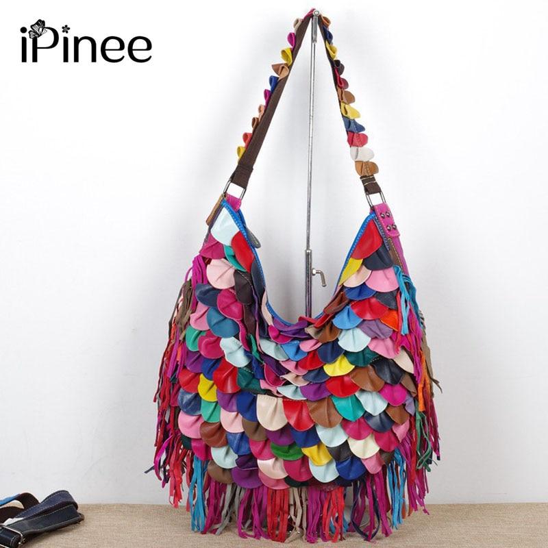 IPinee-حقيبة يد نسائية من الجلد الطبيعي ، حقيبة كتف ذات علامة تجارية ، حقيبة ساعي بنمط ملون ، جودة عالية