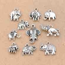 Mix Tibetan Silver Plated Elephant Charms Pendants Jewelry Making Bracelet DIY Accessories DIY Handmade Crafts
