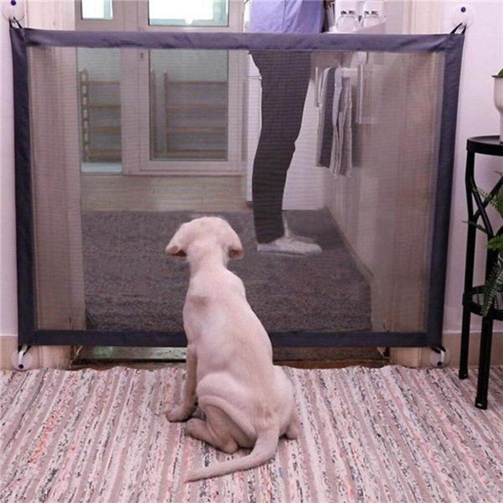 Barrera de malla mágica para puerta de perro mascota, barrera de seguridad de separación, cerca plegable portátil para perros pequeños y grandes