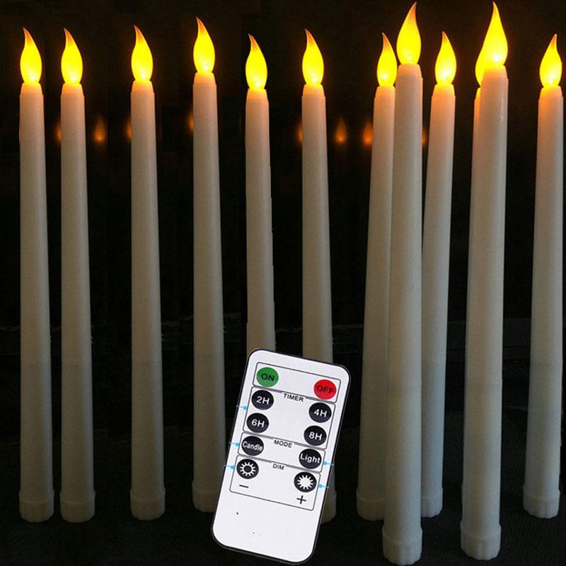 Paquete de 6 remoto o sin LED remoto Taper velas 11 pulgadas...
