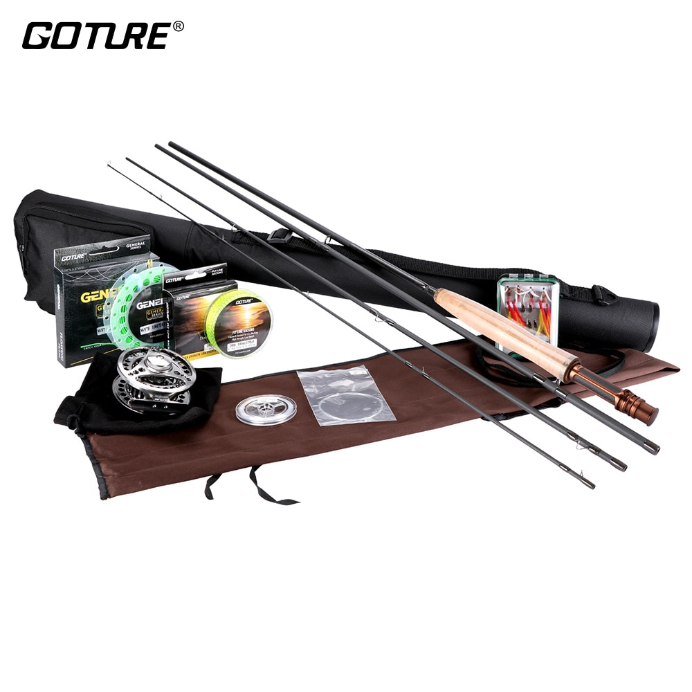 Goture Fly Fishing Kits 2.7M 3.0M Fly Fishing Rod 5/6 7/8 CNC Fly Reel with Fishing Flies Lures and Lines Rod Combo