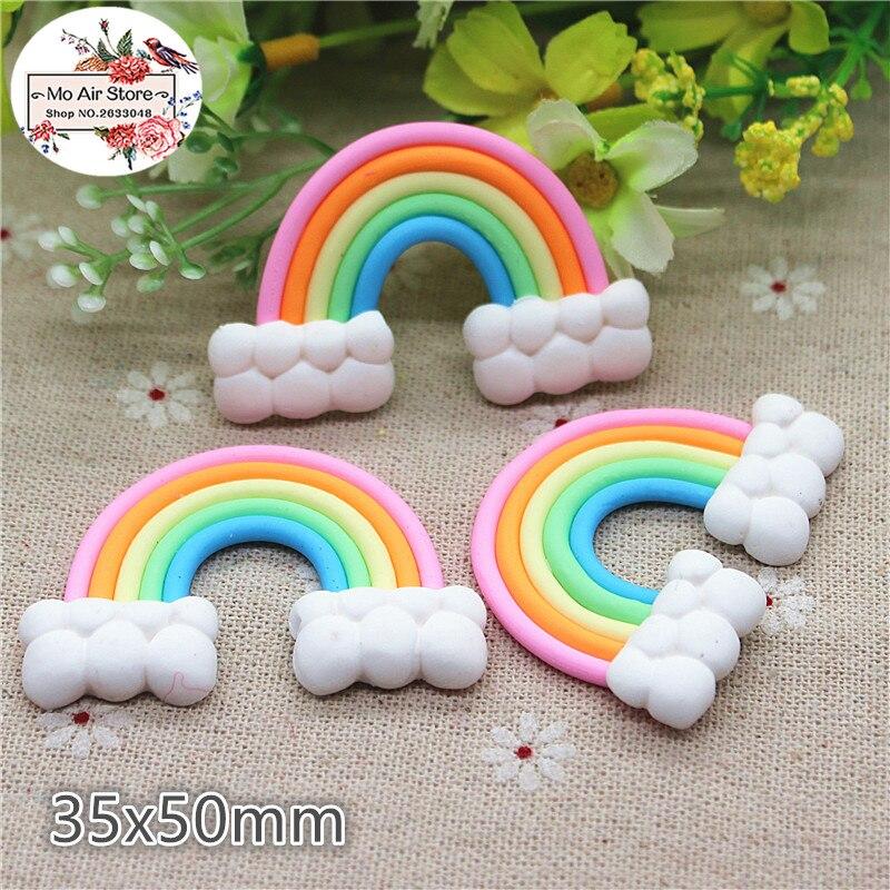 5PCS polymer clay hand made regenbogen Flatback Cabochon Miniatur Lebensmittel Kunst Versorgung Dekoration Charme Handwerk