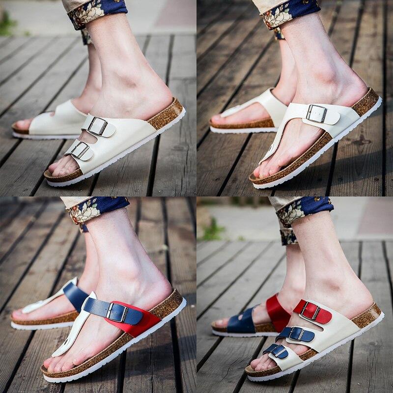 46 sandalias de corcho grandes de talla grande para mujer, sandalias de cuero genuino, nuevos zapatos de verano informales de color sólido para mujer, sandalias para mujer