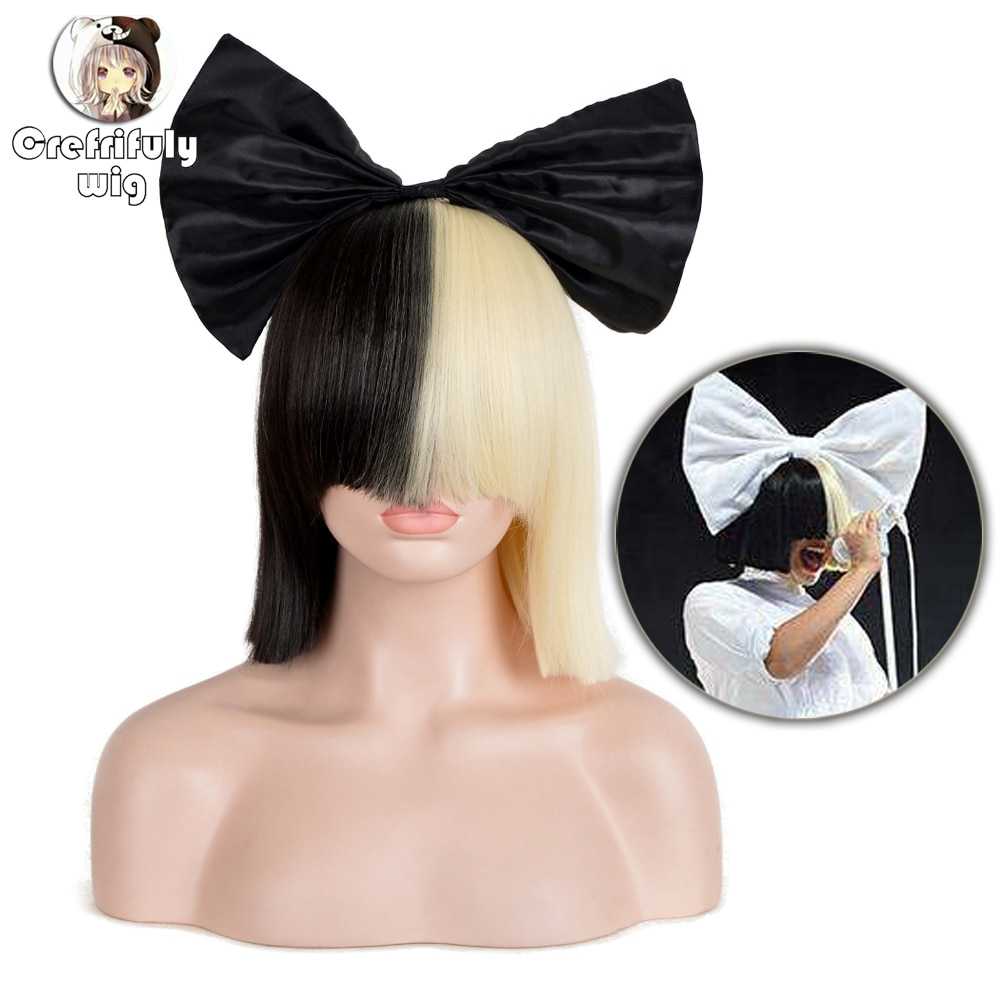 35cm SIA Anime Synthetic Hair Half Black and Blonde Ombre Short Straight Flat Bangs Heat Resistant Cosplay Full Wigs For Women