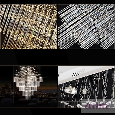 LED K9Crystal Chandeliers Square Pendant Light Lighting Lamps Fixtures AC 100 to 240V Clear K9 Crystal  - buy with discount