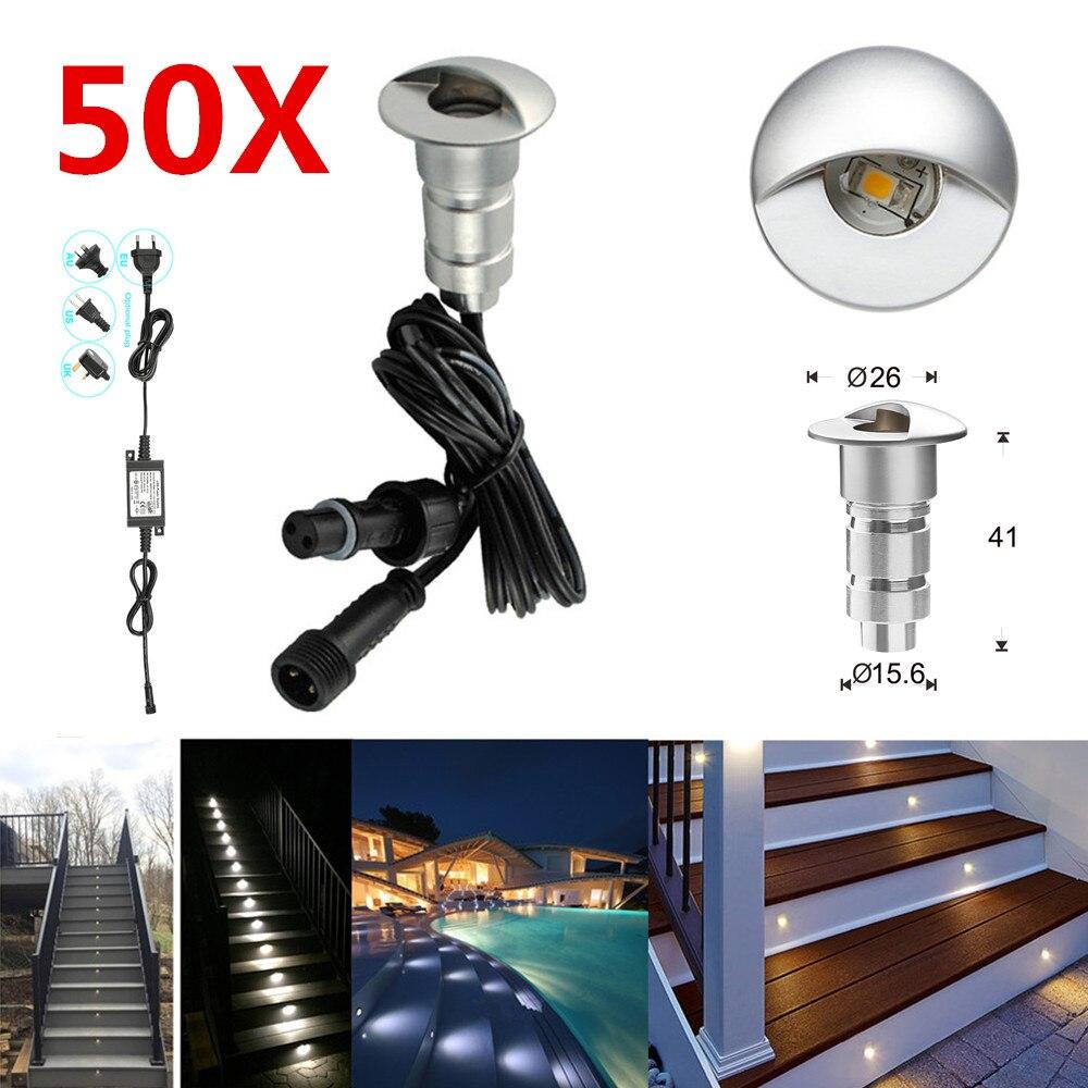 50 قطعة/الوحدة 26 مللي متر نصف القمر جفن 12V IP65 للماء ساحة الطابق الصمام السكك الحديدية درج خطوة شرفة إينجروند أضواء + 2 قطعة محول