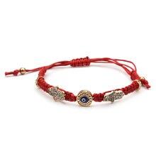 Hamsa Hand Blue Evil Eye Charms Red Rope String Gevlochten Handgemaakte Armband Voor Vrouwen Verstelbare Lengte