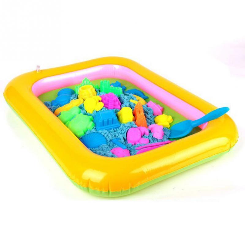 Надувной лоток для песка, пластиковый мобильный стол для детей, для использования в помещении, в песочной глины, цветные грязевые игрушки, аксессуары