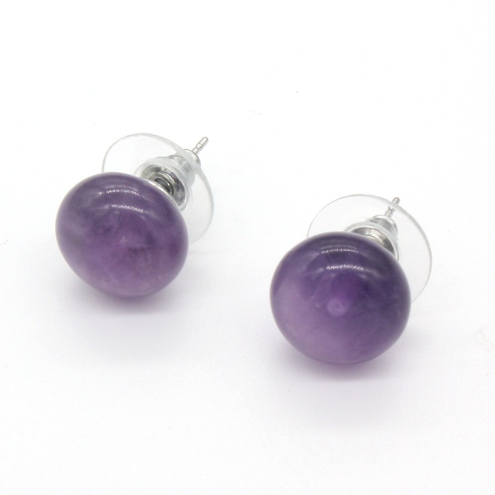 Moda-grânulos popular prata chapeado ametistas pão forma brincos rosa rosa quartzo preto ágata jóias