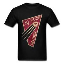 T-shirt géométrique hommes CCCP T-shirt russie C C C P T-shirt spoutnik-1 espace programme t-shirts personnalisé urss hauts Streetwear Punk chemises