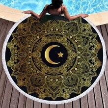 Couverture de plage Yoga couverture Mandala impression lune 150 cm ronde microfibre gland serviette de bain châle épais pique-nique matelas tenture murale