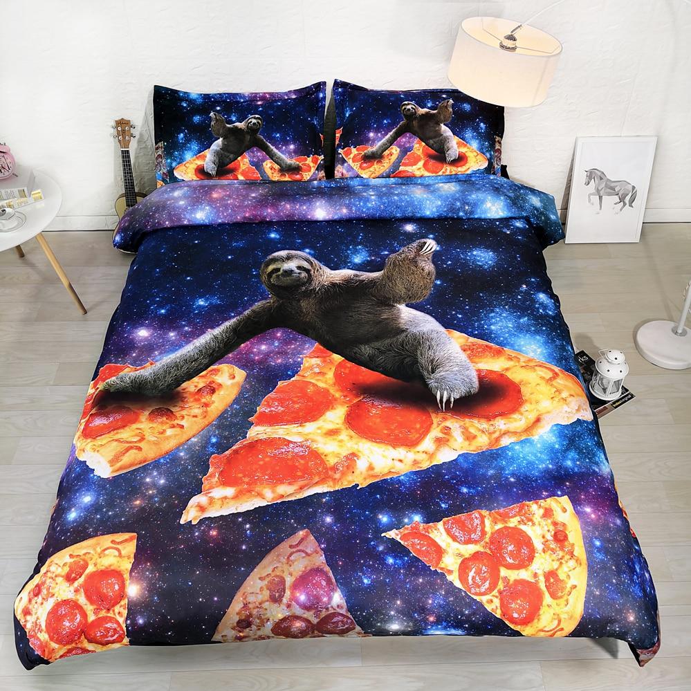 Ensemble de draps de Pizza 3 pièces par ensemble   Parure de lit drôle de surf sur tranche de Pizza, ensemble de literie 3d pour la galaxie