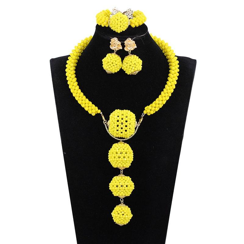 África cuentas de conjuntos de joyas amarillo nigeriano boda juegos de joyería colgante de cristal de conjuntos de joyería nupcial India caliente conjunto WE163