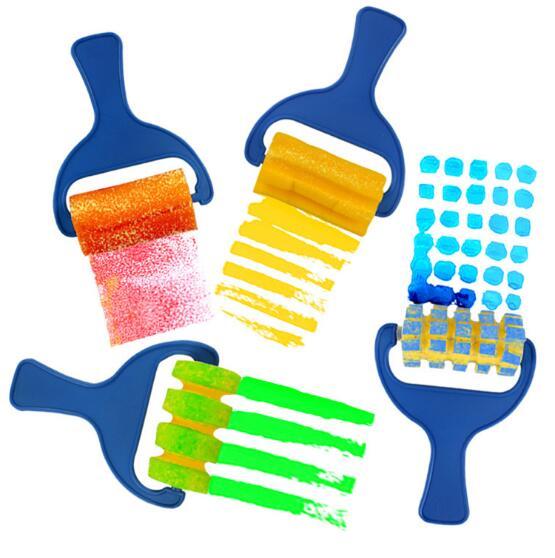 4Pcs/Lot Kids Painting Sponge Brushes Fun Children Graffiti Paint Toy Plastic Handle Seal Sponge Drawing Brush Educational Toy