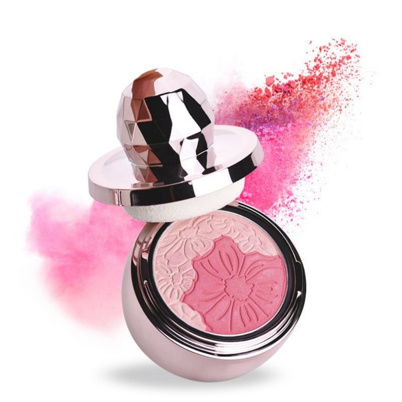 4 colores puro Mineral rubor cara comprobar colorete en polvo con esponja de seta cosmético conveniente maquillaje belleza 2018 producto caliente