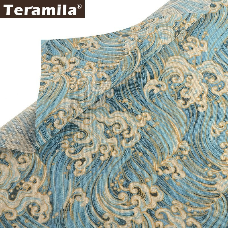 Teramila tela de lona de algodón Lino tela por metros Telas Tissu Ankara cortinas mantel Material cojín bolsa de mano tinte
