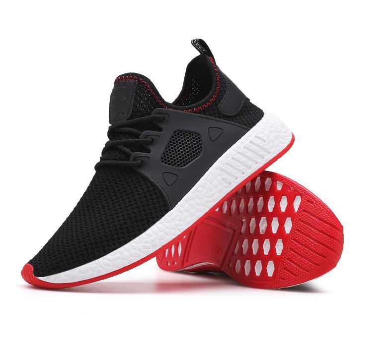 حذاء رياضي أسود خفيف الوزن للرجال ، حذاء رياضي شبكي مسامي ، حذاء رياضي للجري