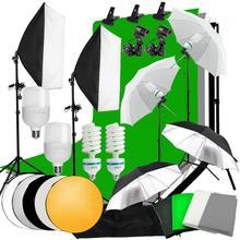 ZUOCHEN Studio Photo Softbox parapluie Kit déclairage Support de fond 4 Kit de toile de fond