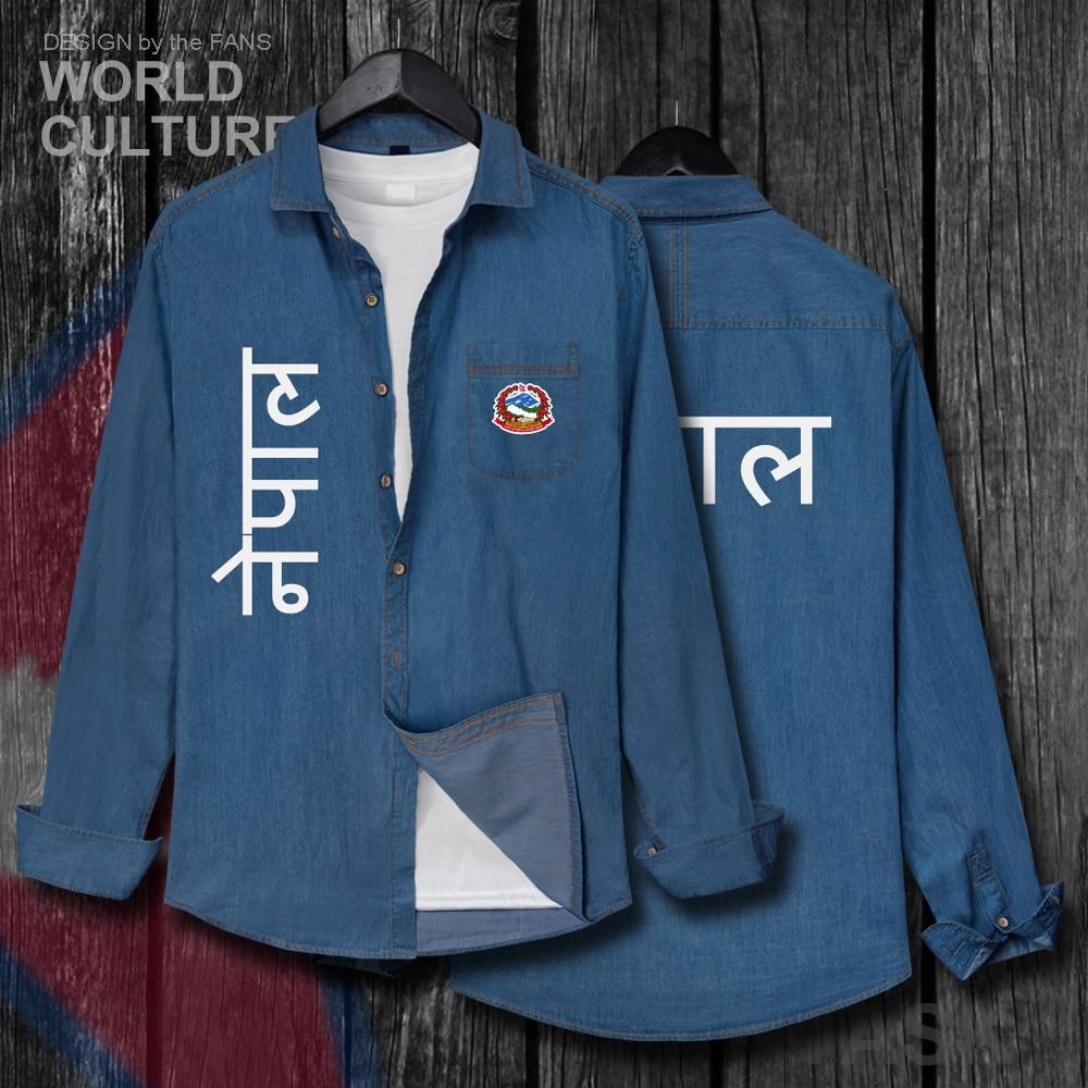 Nepal NPL nepalí Nepalese PN chaqueta hombres ropa de moda Otoño algodón Turn-down Collar Jeans camisa de manga larga vaquero abrigo 20