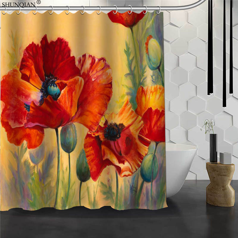 Nueva cortina de ducha Poppy Flower 02 tela impermeable cortina de baño de poliéster tela cortina de baño 180X200cm150X180cm