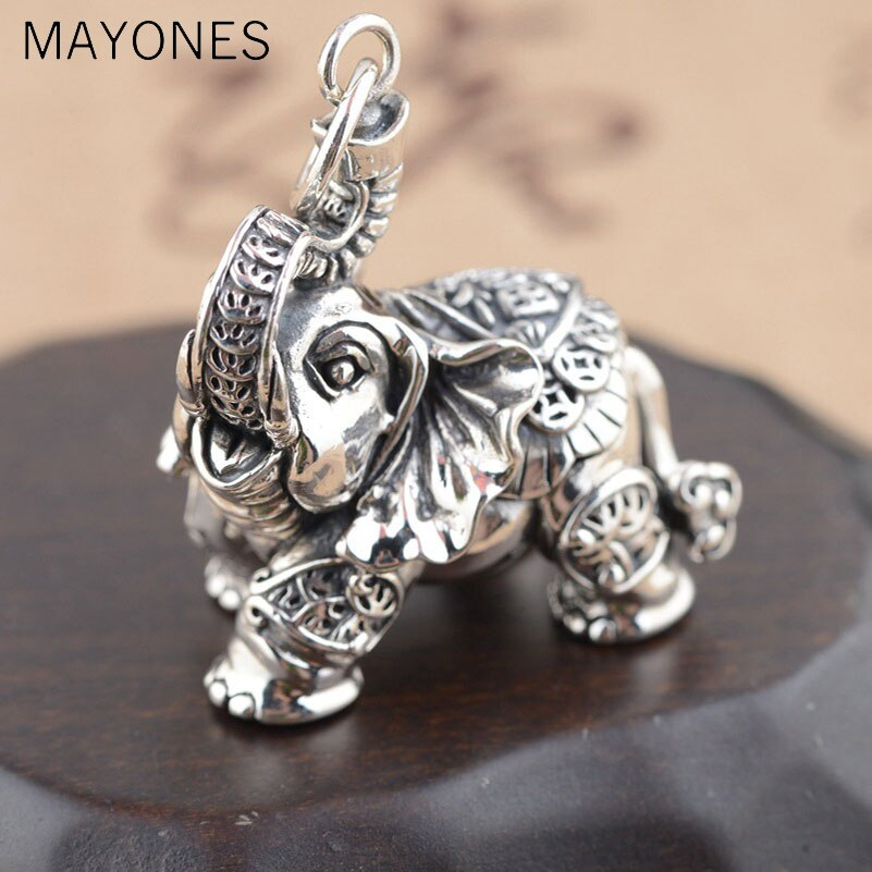 Real 925 Silver Elephant Pendant Good Luck Coins 100% Pure S925 Solid Thai Silver Pendants for Women Men Jewelry Making