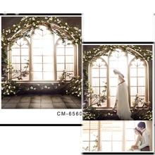 DAWNKNOW Window Flower Arch Vinyl Photography Background Brick Ground Polyester Backdrop For Wedding Photo Studio Props CM6560