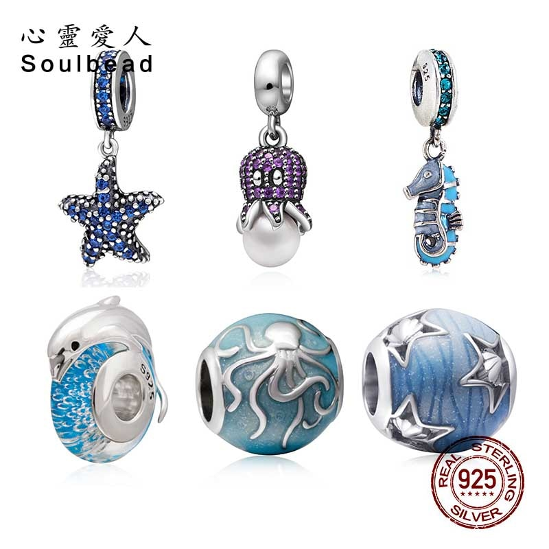 Soulbead 925 Sterling Silver Cz StoneMarine Animal Charm Beads With Green Enamel Fit Pandora Bracelet 2018 Animal Series