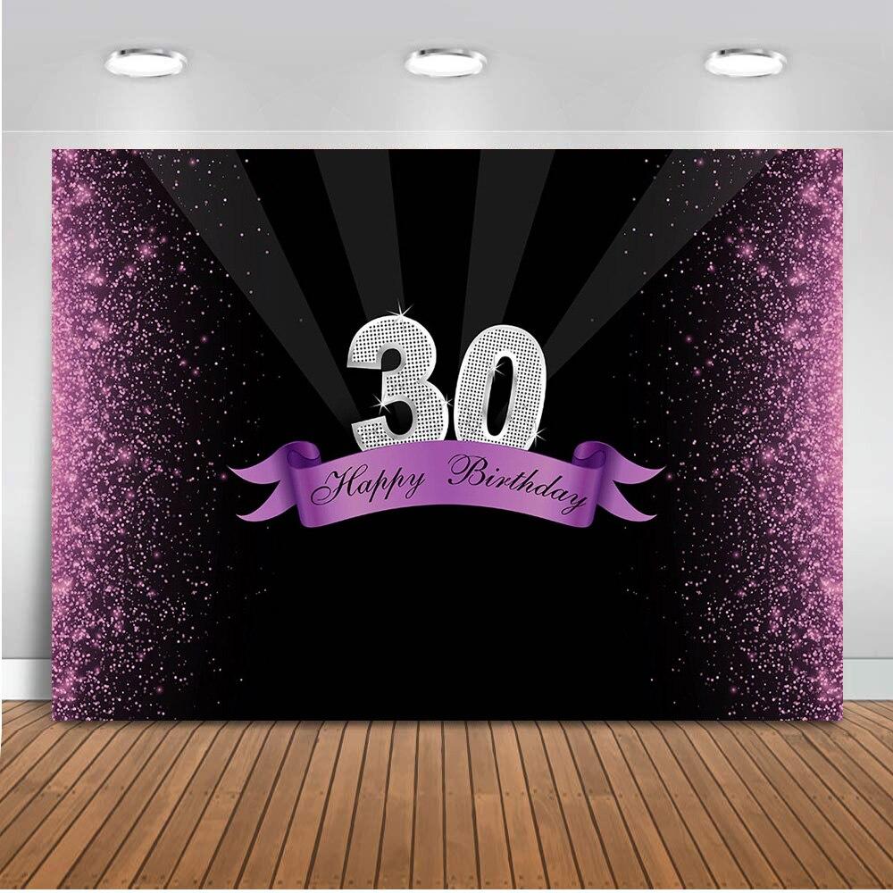 Feliz 30 30 30 cumpleaños fiesta foto de fondo rosa lentejuelas brillo póster fotografía telones de fondo sesión fotográfica foto de estudio
