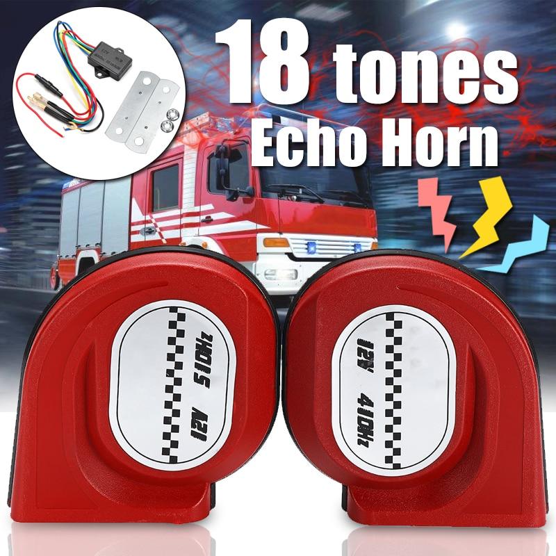 1 par de bocinas de 12v Echo 105dB para coche, coche, camión, claxon envolvente Dual de caracol, resistente al agua, alarma de advertencia a prueba de polvo