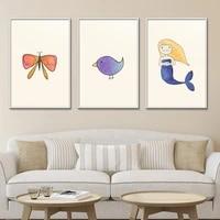Affiche de dessin anime a la mode  beau espace  Art mural  Style nordique  decoration de maison  peinture sur toile  imprimes  image moderne pour chambre de bebe